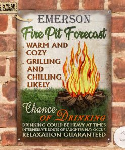Personalized Camping Fire Pit Forecast Warm And Cozy Metal Signsz
