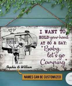 Personalized Camping Sketch 5th Wheel I Want To Hold Your Hand At 80 And Say Rectangle Wood Sign