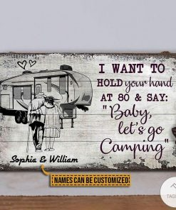 Personalized Camping Sketch 5th Wheel I Want To Hold Your Hand At 80 And Say Rectangle Wood Signz