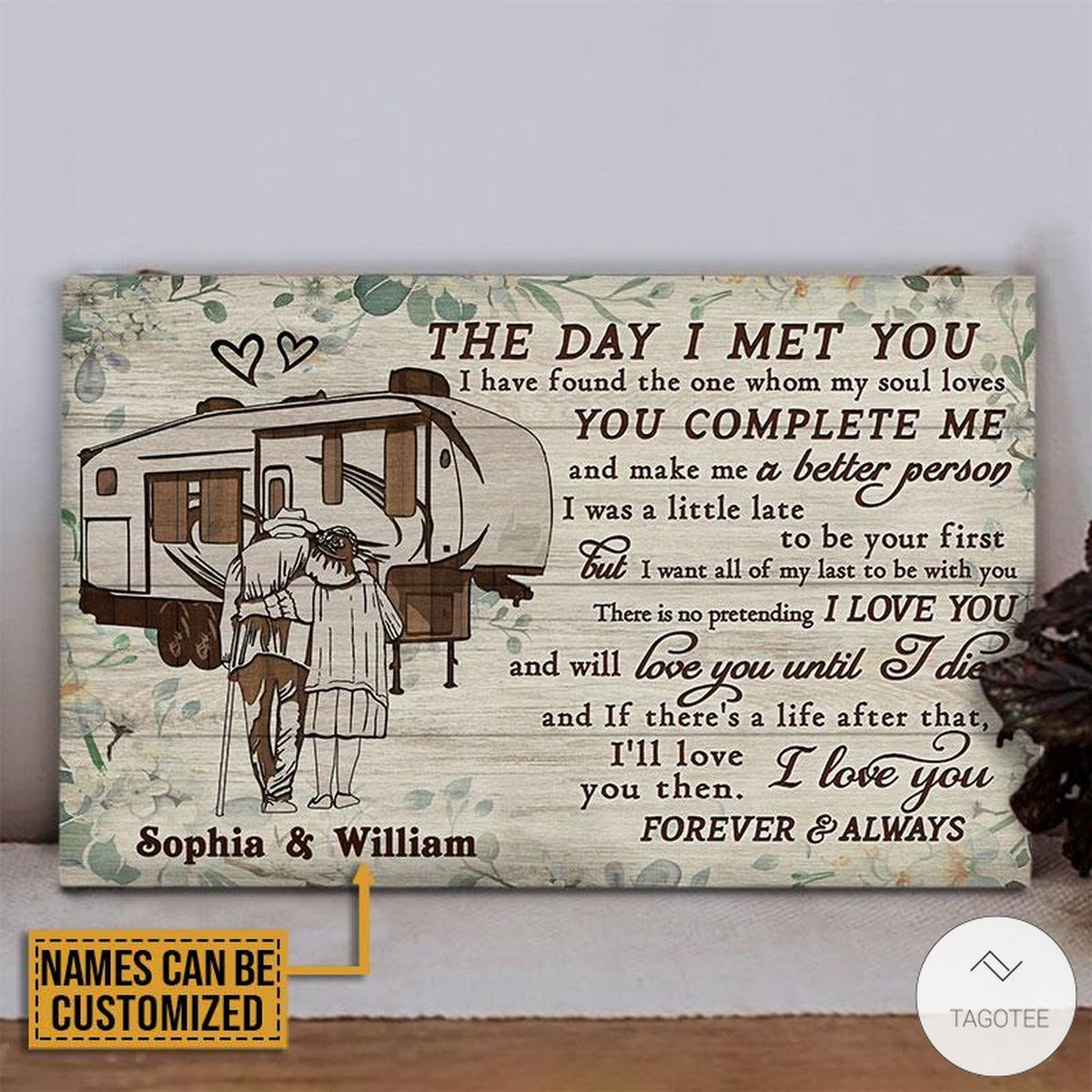 Personalized Camping The Day I Met You Rectangle Wood Sign z