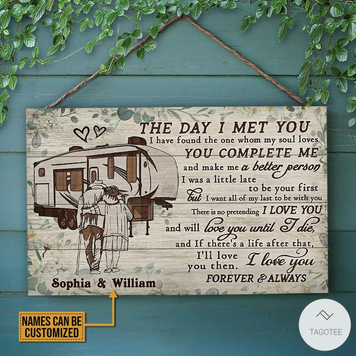 Personalized Camping The Day I Met You Rectangle Wood Sign