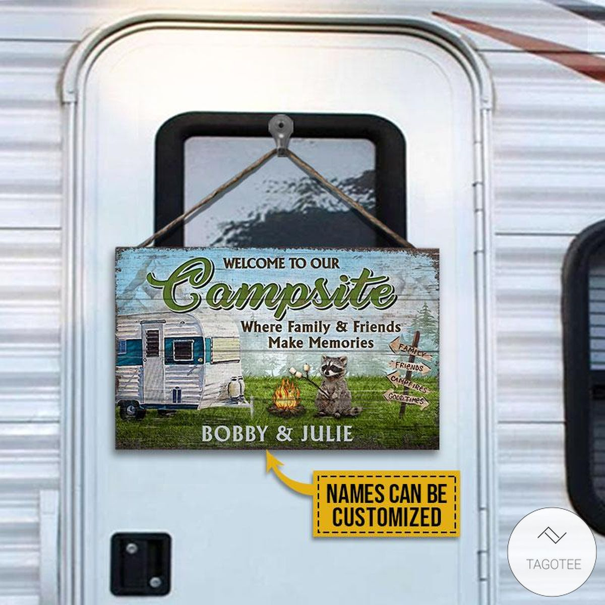 Personalized Camping Welcome To Our Campsite Where Family And Friends Make Memories Rectangle Wood Sign
