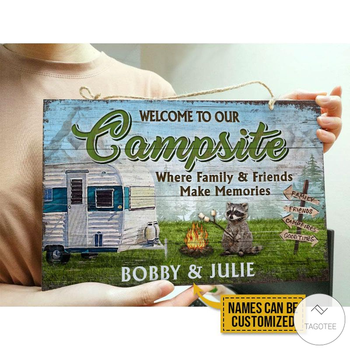 Personalized Camping Welcome To Our Campsite Where Family And Friends Make Memories Rectangle Wood Signx