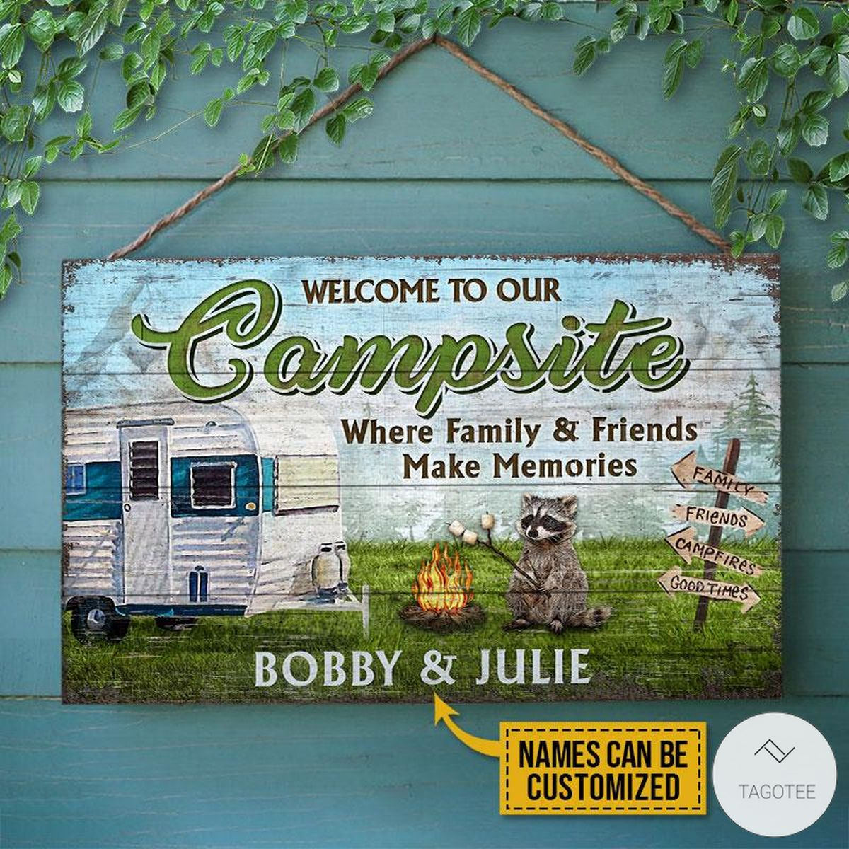 Personalized Camping Welcome To Our Campsite Where Family And Friends Make Memories Rectangle Wood Signz