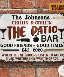 Personalized Chillin And Grilling The Patio Bar Backyard Personalized Grilling Patio Backyard Metal SignsZ