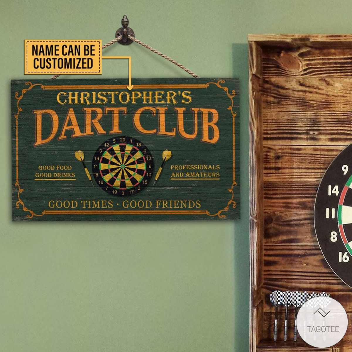 Personalized Darts Club Good Times Good Friends Rectangle Wood Sign