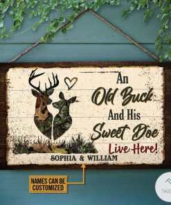 Personalized Deer An Old Buck And His Sweet Doe Live Here Rectangle Wood Sign