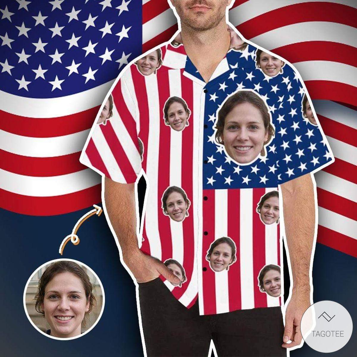 Personalized Face Photo American Flag Hawaiian Shirt