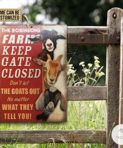 Personalized Farm Goat Keep Gate Closed Metal Signs