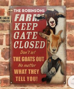 Personalized Farm Goat Keep Gate Closed Metal Signsz