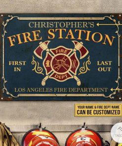 Personalized Firefighter Fire Station Metal Signs