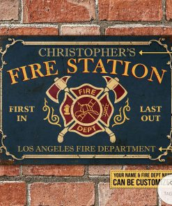 Personalized Firefighter Fire Station Metal Signsz