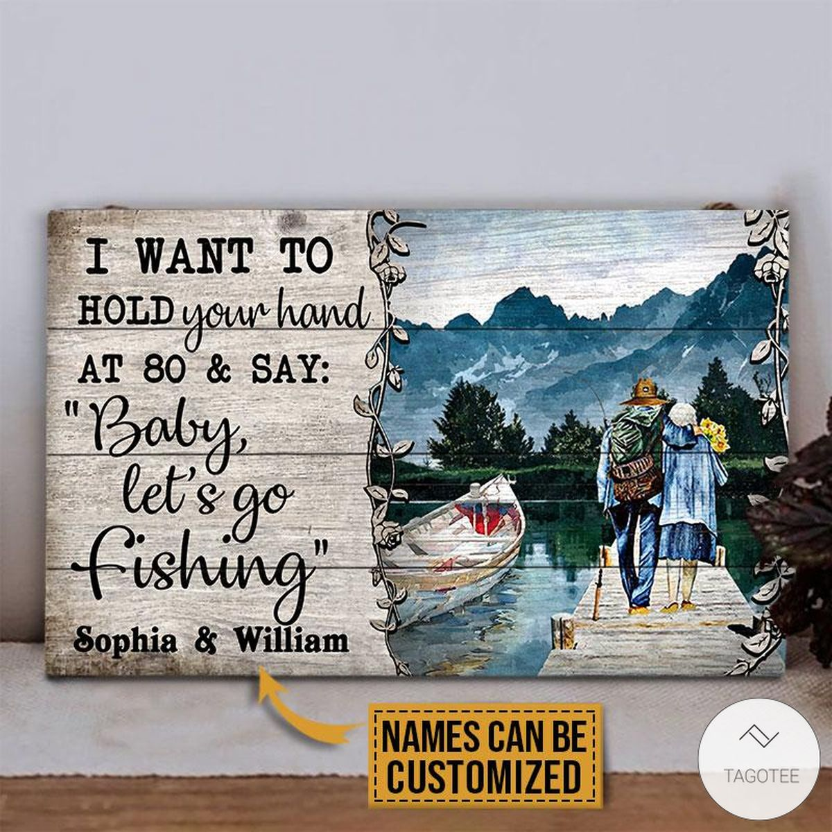Personalized Fishing I Want To Hold Your Hand At 80 And Say Rectangle Wood Sign z