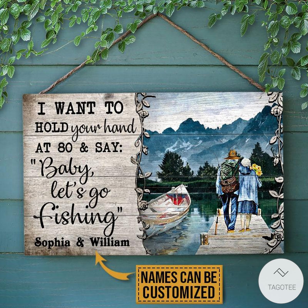 Personalized Fishing I Want To Hold Your Hand At 80 And Say Rectangle Wood Sign