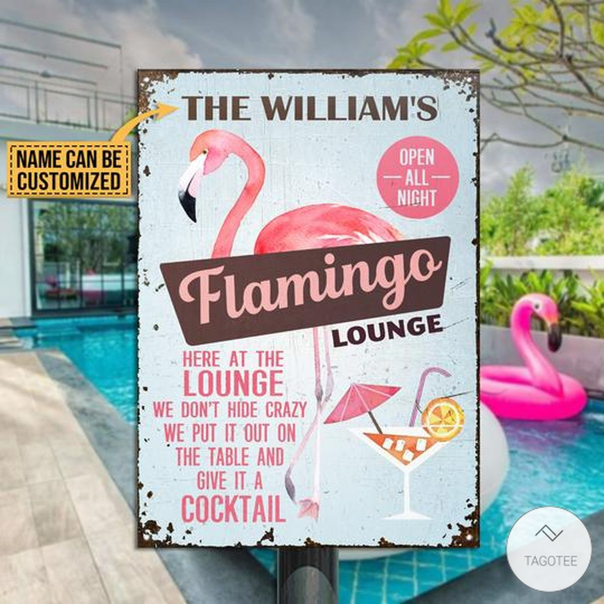 Personalized Flamingo Lounge Metal Signs
