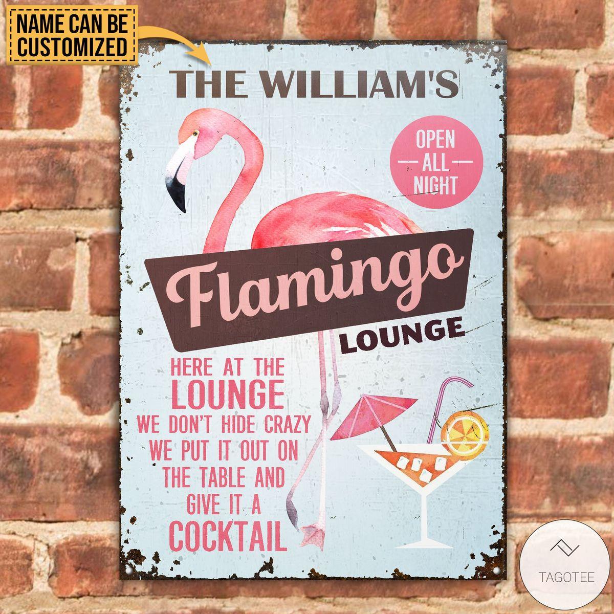 Personalized Flamingo Lounge Metal Signsz