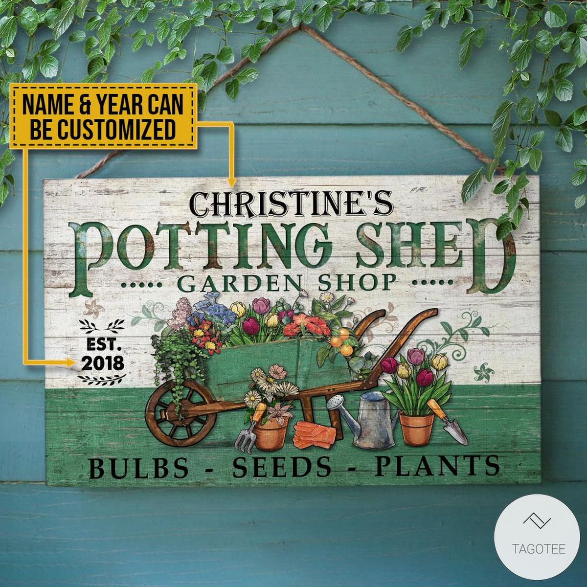 Personalized Garden Potting Shed Garden Shop Bulbs - Seeds - Plants Rectangle Wood Sign