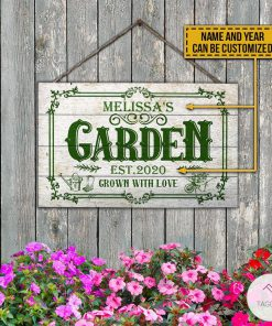 Personalized Gardening Garden Est 2020 Grown With Love Rectangle Wood Sign