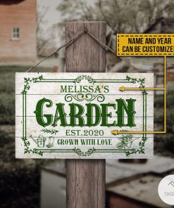 Personalized Gardening Garden Est 2020 Grown With Love Rectangle Wood Sign z