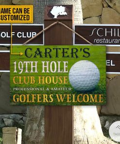 Personalized Golf 19th Hole Club House Golfers Welcome Rectangle Wood Sign