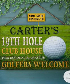 Personalized Golf 19th Hole Club House Golfers Welcome Rectangle Wood Sign x