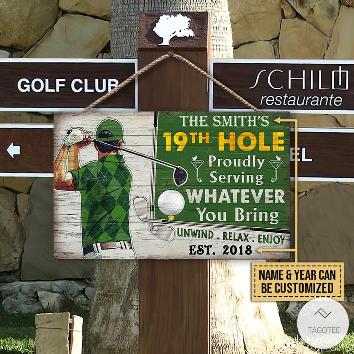 Personalized Golf 19th Hole Proudly Serving Whatever You Bring Rectangle Wood Sign