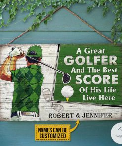 Personalized Golf A Great Golfer And The Best Score Of His Life Live Here Rectangle Wood Sign