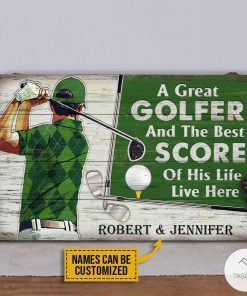 Personalized Golf A Great Golfer And The Best Score Of His Life Live Here Rectangle Wood Sign z