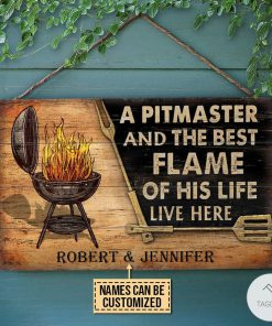Personalized Grilling A Pitmaster And The Best Flame Of His Life Live Here Rectangle Wood Sign