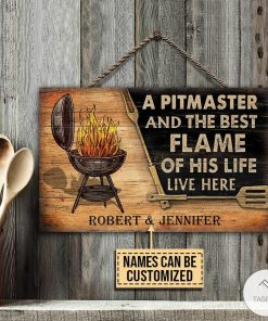 Personalized Grilling A Pitmaster And The Best Flame Of His Life Live Here Rectangle Wood Sign z