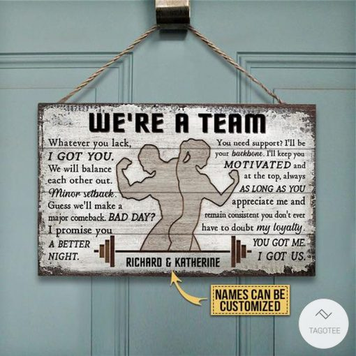 Personalized Gym Couple We're A Team Rectangle Wood Sign