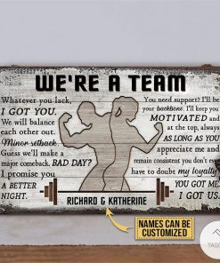 Personalized Gym Couple We're A Team Rectangle Wood Signx