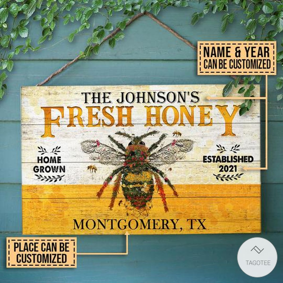 Personalized Honey Bee Fresh Rectangle Wood Sign