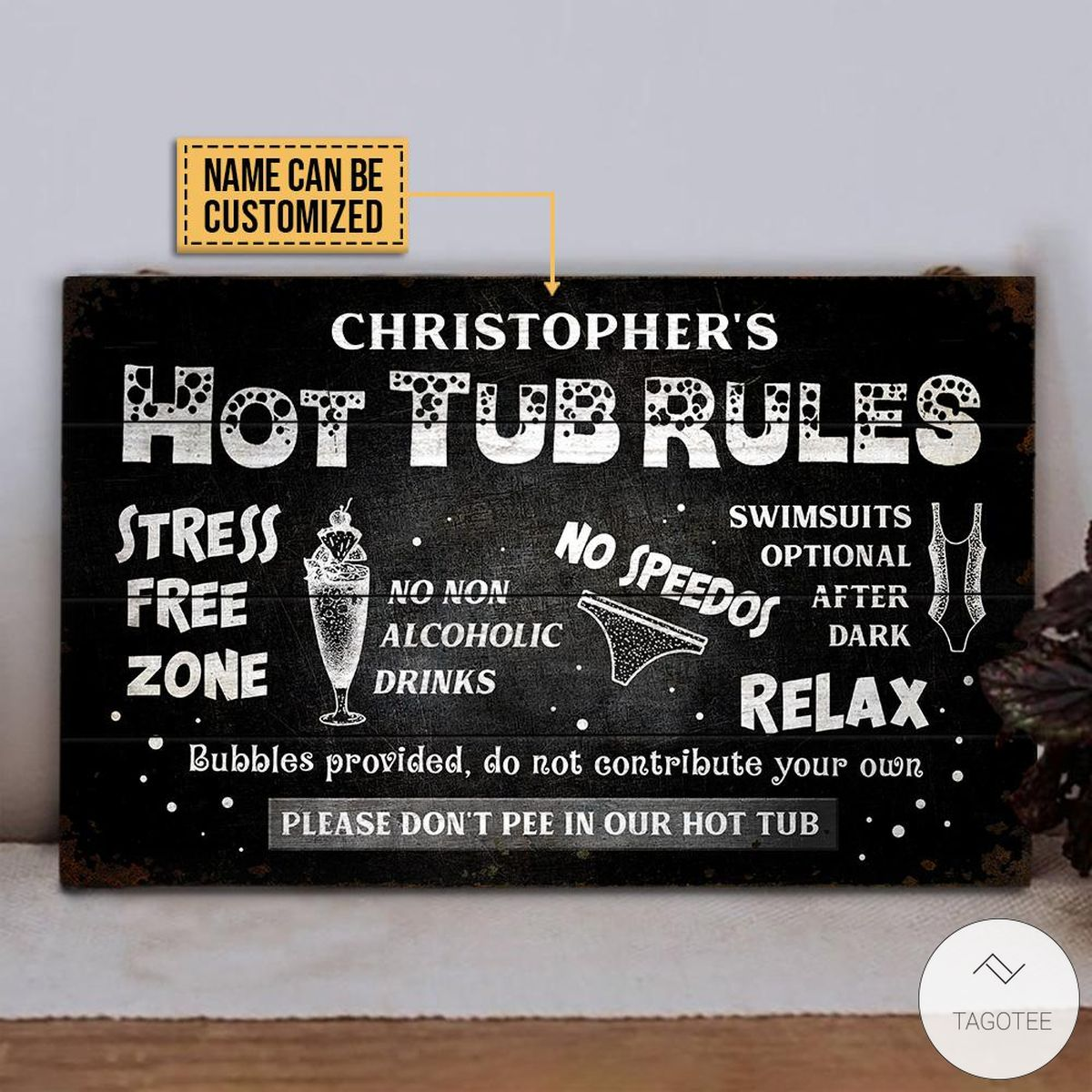 Personalized Hot Tub Rules Stress Free Zone Rectangle Wood Sign x