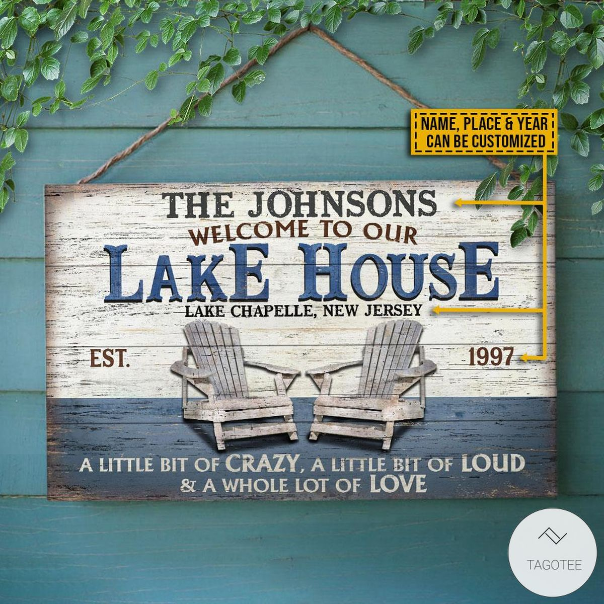 Personalized Lake House A Little Bit Of Crazy Rectangle Wood Sign