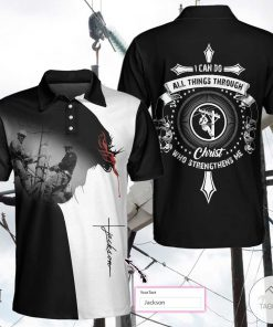 Personalized Lineman I Can Do All Things Through Christ Polo Shirtx