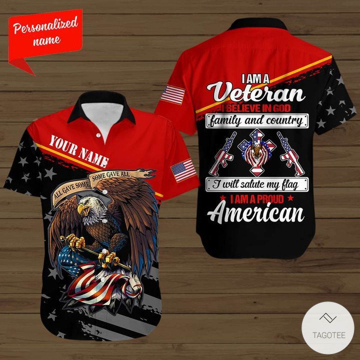 Personalized Name All Give Some Some Gave All Eagle Flag I Am A Veteran Button Shirt