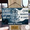 Personalized Navy Veteran And His Commander-In-Chief Live Here Rectangle Wood Sign
