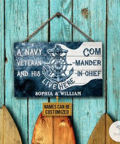 Personalized Navy Veteran And His Commander-In-Chief Live Here Rectangle Wood Signz