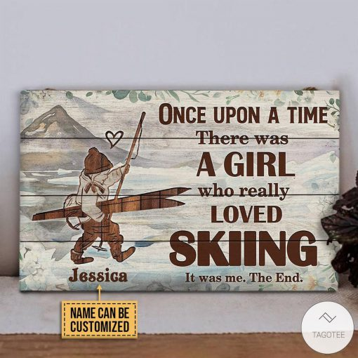 Personalized Once Upon A Time There Was A Girl Who Really Loved Skiing Rectangle Wood Signz