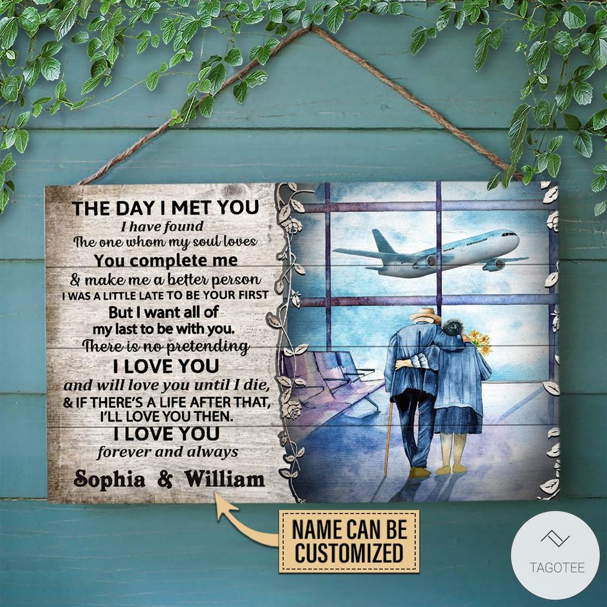 Personalized Pilot The Day I Met You Rectangle Wood Sign