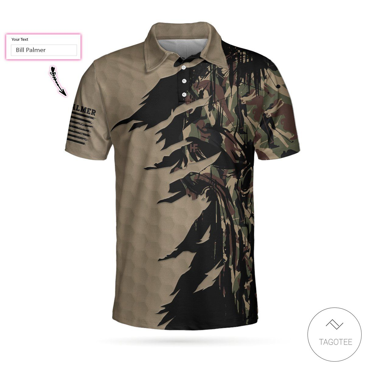 Personalized Ripped Vintage Golf Clubs Skull Camouflage Polo Shirt