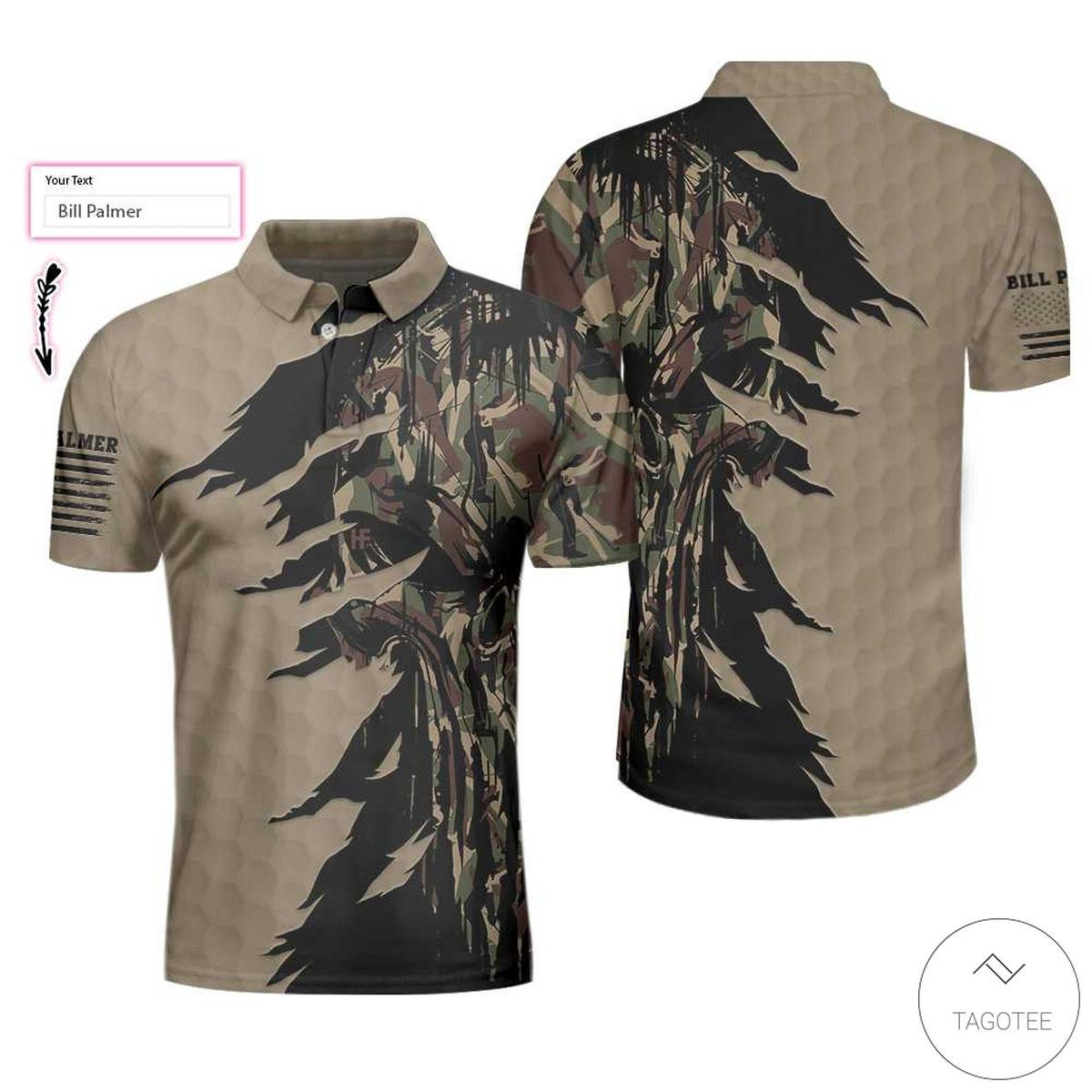 Personalized Ripped Vintage Golf Clubs Skull Camouflage Polo Shirtx