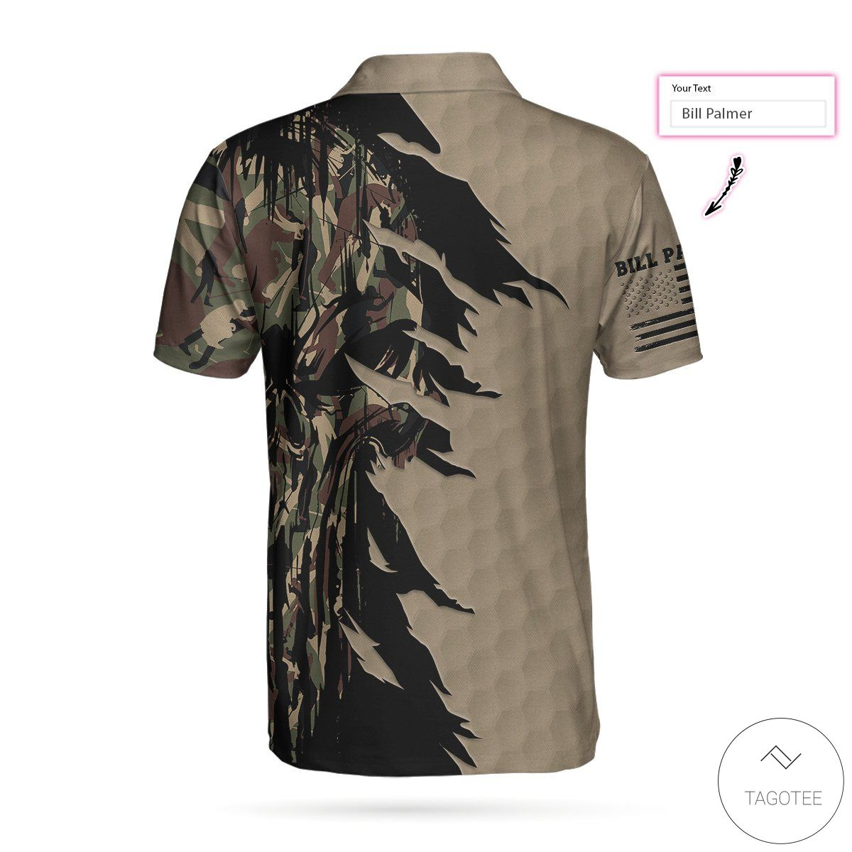 Personalized Ripped Vintage Golf Clubs Skull Camouflage Polo Shirtz