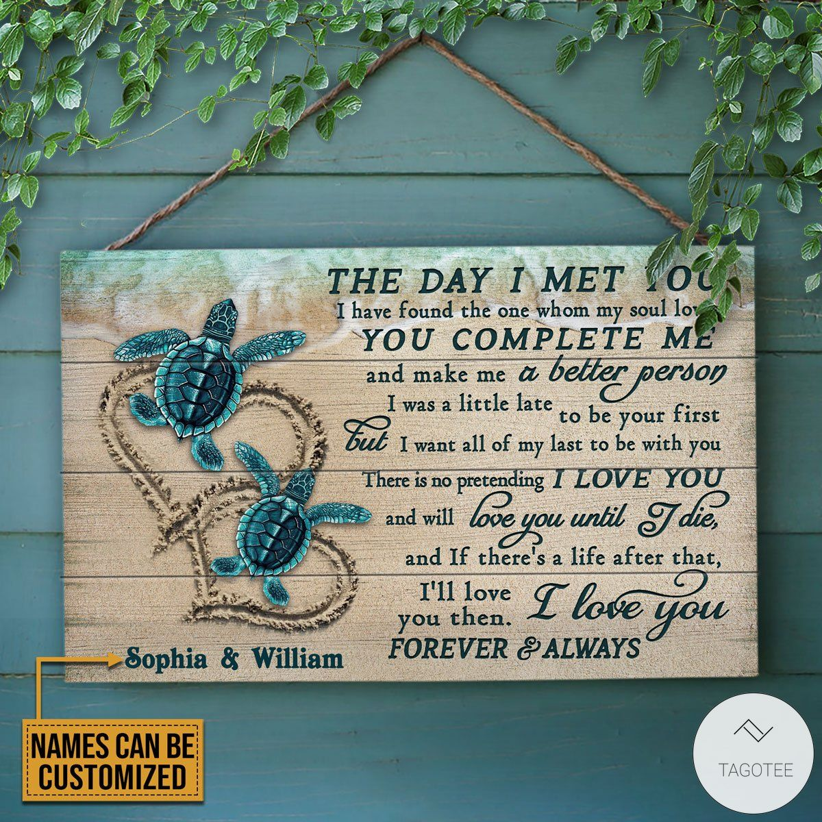 Personalized Sea Turtle The Day I Met You Rectangle Wood Sign