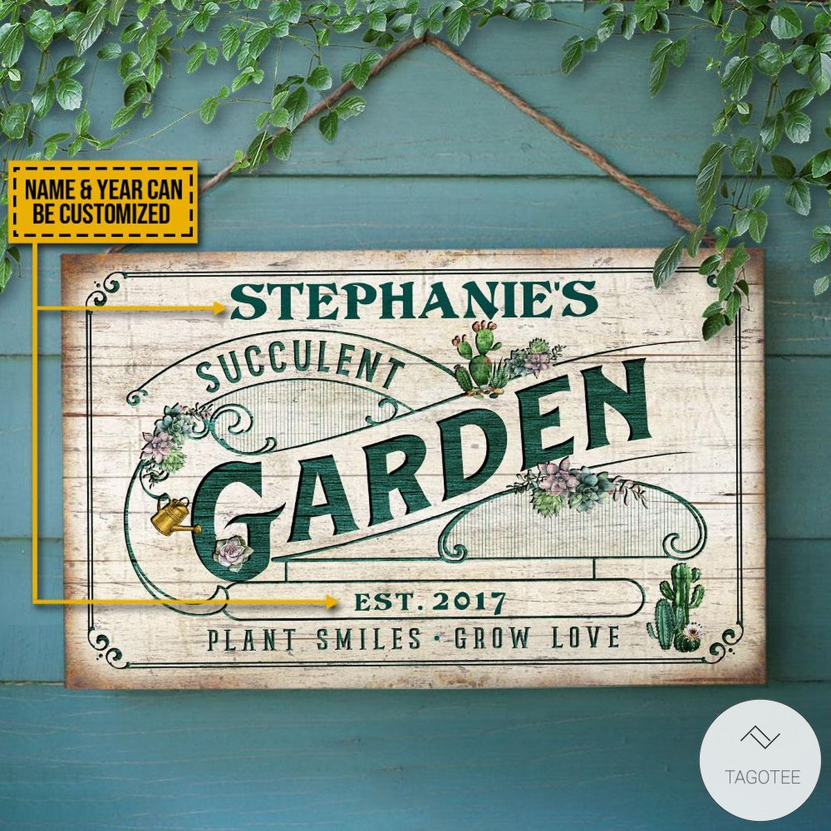 Personalized Succulent Garden Plants - Smiles - Grow Love Rectangle Wood Sign z