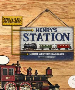Personalized Train Station Rectangle Wood Sign