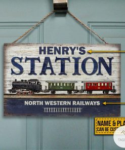 Personalized Train Station Rectangle Wood Sign z