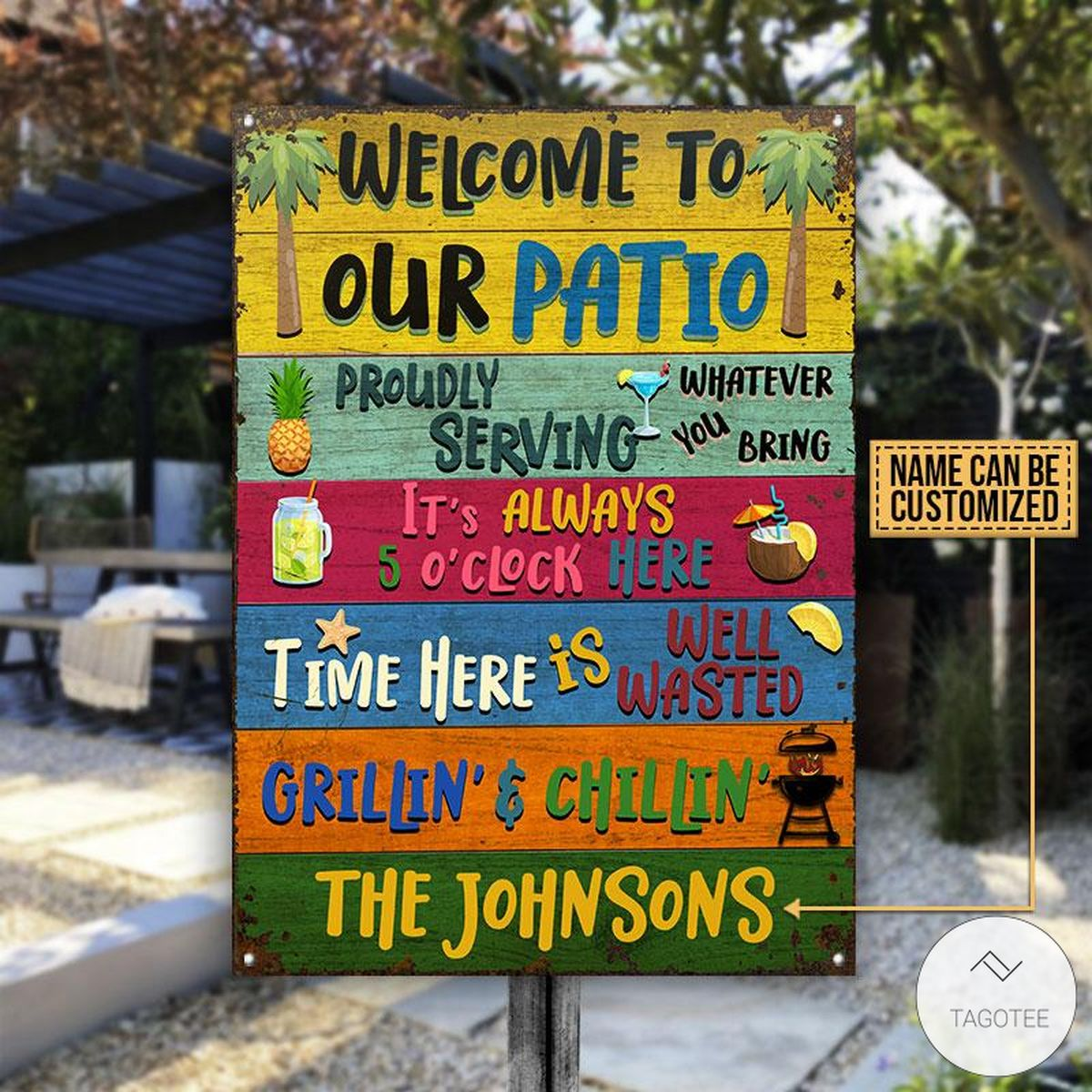 Personalized Welcome To Our Patio Metal Signs