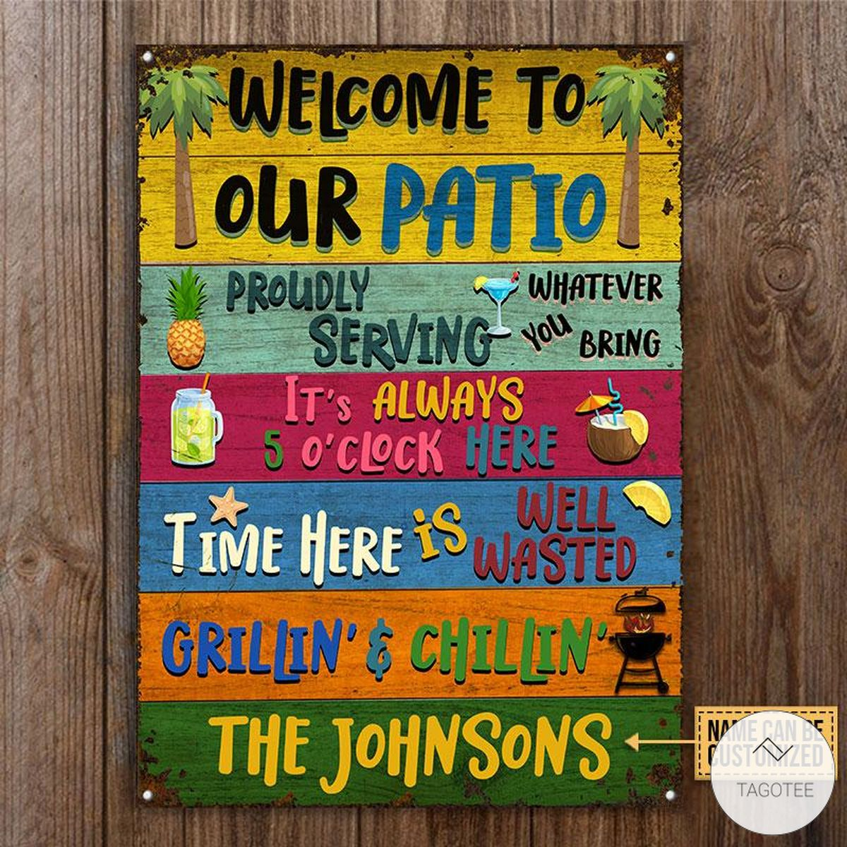 Personalized Welcome To Our Patio Metal Signsc